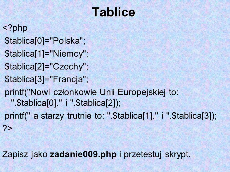 Tablice < php $tablica[0]= Polska ; $tablica[1]= Niemcy ;